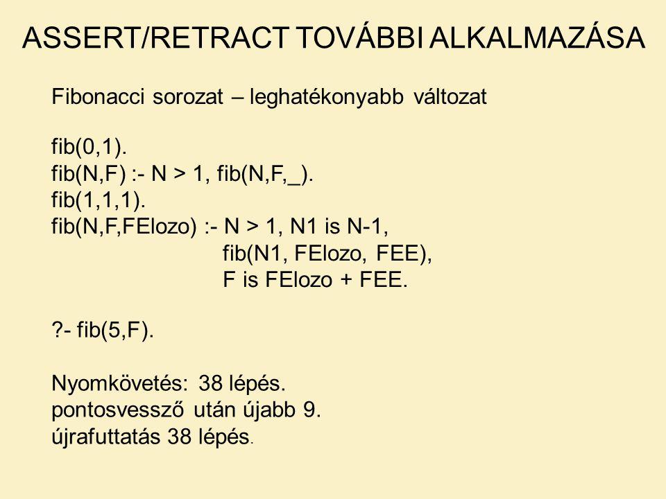 Fibonacci sorozat – leghatékonyabb változat ASSERT/RETRACT TOVÁBBI ALKALMAZÁSA fib(0,1). fib(N,F) :- N > 1, fib(N,F,_). fib(1,1,1). fib(N,F,FElozo) :-
