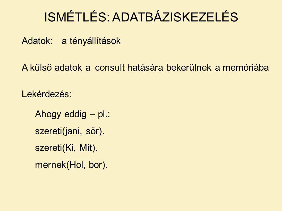 Beszúrás:assert/1 pl.: assert(szereti(jani,bor)).