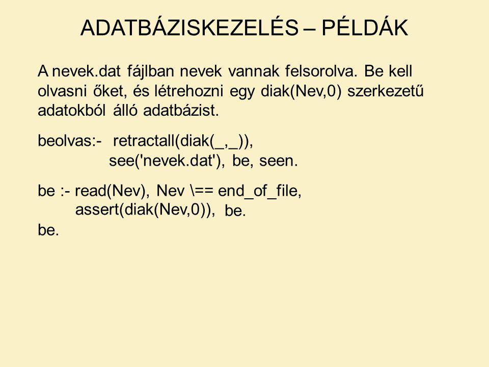 A nevek.dat fájlban nevek vannak felsorolva. Be kell olvasni őket, és létrehozni egy diak(Nev,0) szerkezetű adatokból álló adatbázist. beolvas:- retra