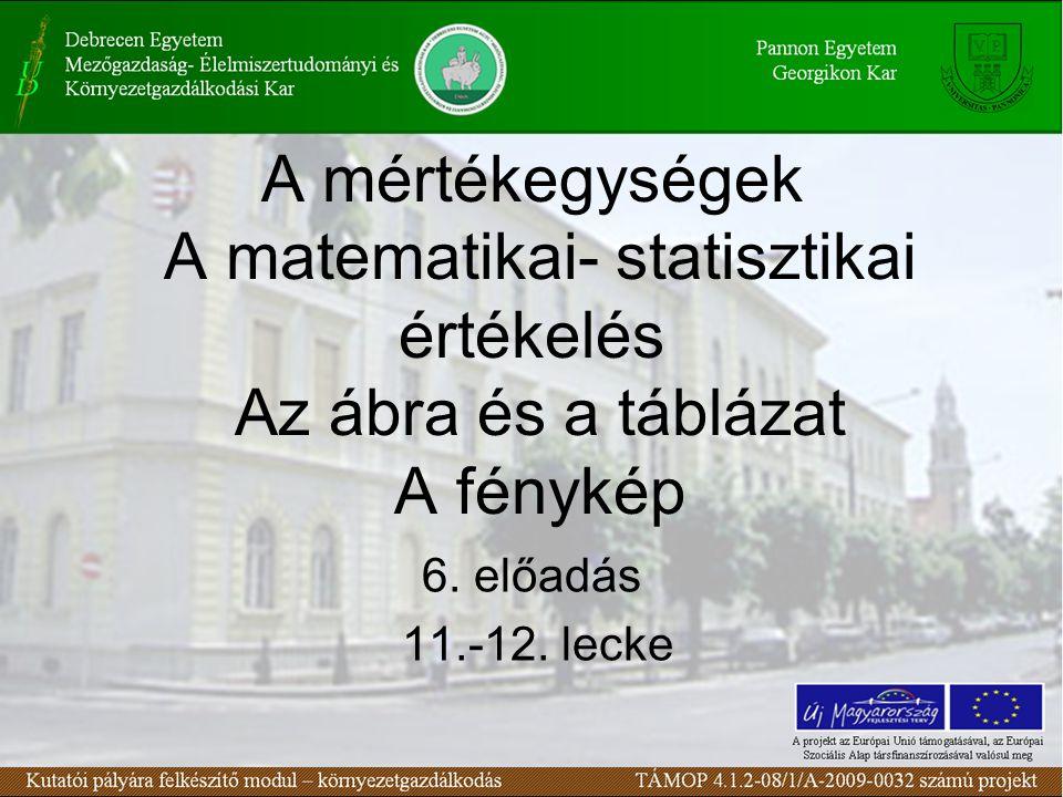 A mértékegységek A matematikai- statisztikai értékelés Az ábra és a táblázat A fénykép 6.