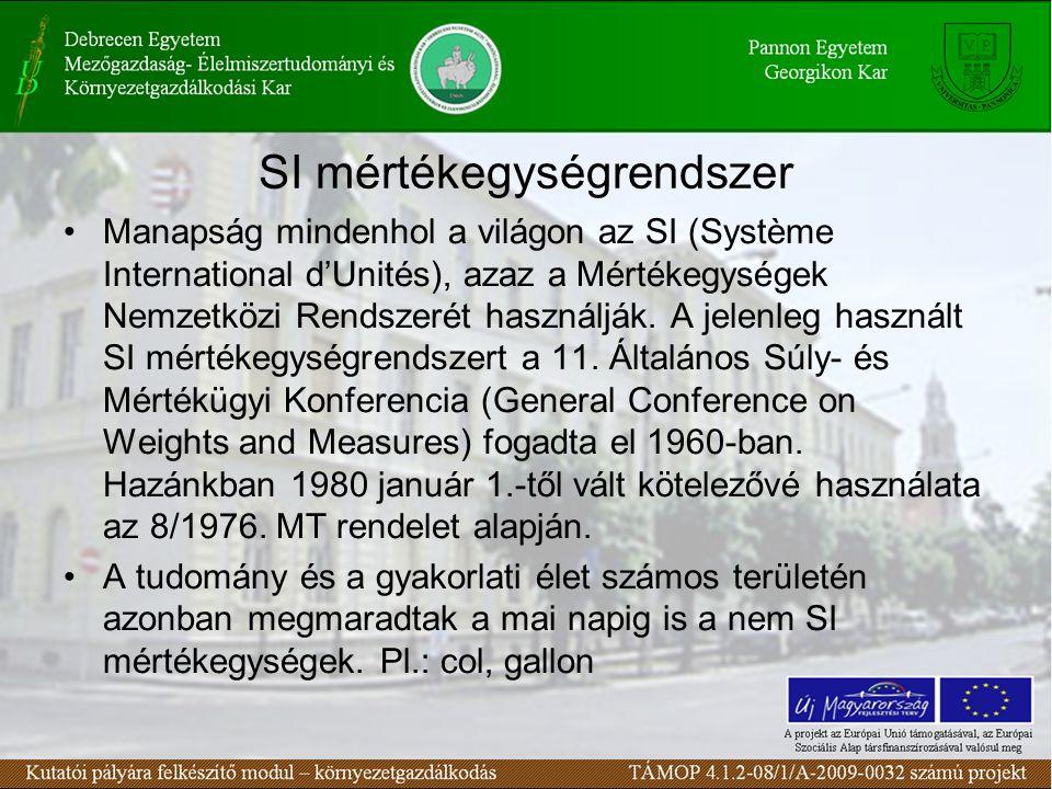 SI mértékegységrendszer Manapság mindenhol a világon az SI (Système International d'Unités), azaz a Mértékegységek Nemzetközi Rendszerét használják.