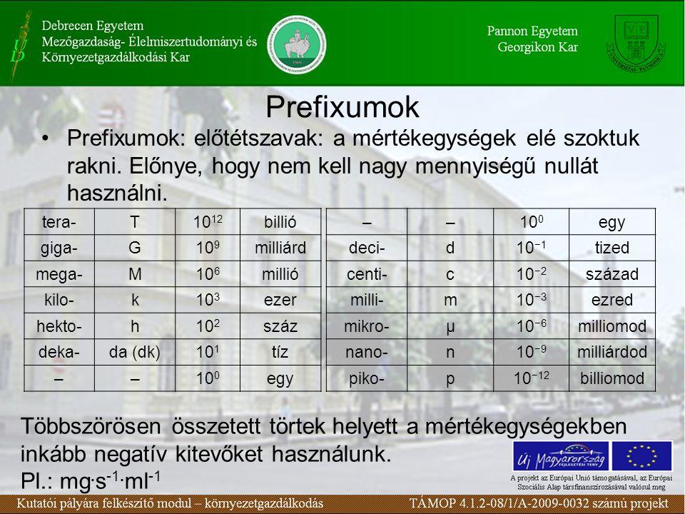 Prefixumok Prefixumok: előtétszavak: a mértékegységek elé szoktuk rakni.