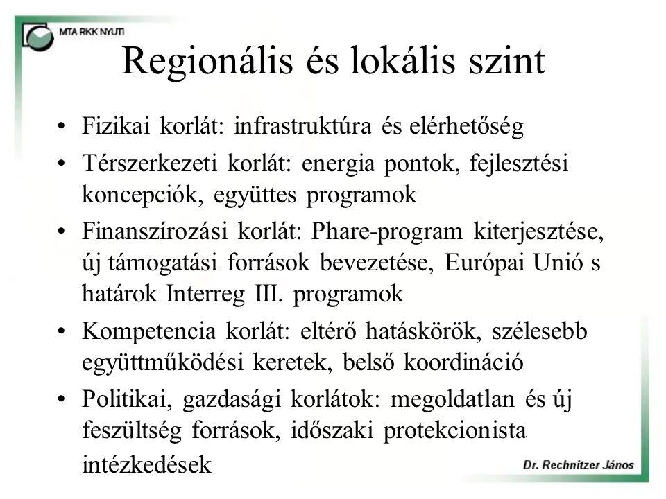 Regionális és lokális szint Fizikai korlát: infrastruktúra és elérhetőség Térszerkezeti korlát: energia pontok, fejlesztési koncepciók, együttes programok Finanszírozási korlát: Phare-program kiterjesztése, új támogatási források bevezetése, Európai Unió s határok Interreg III.