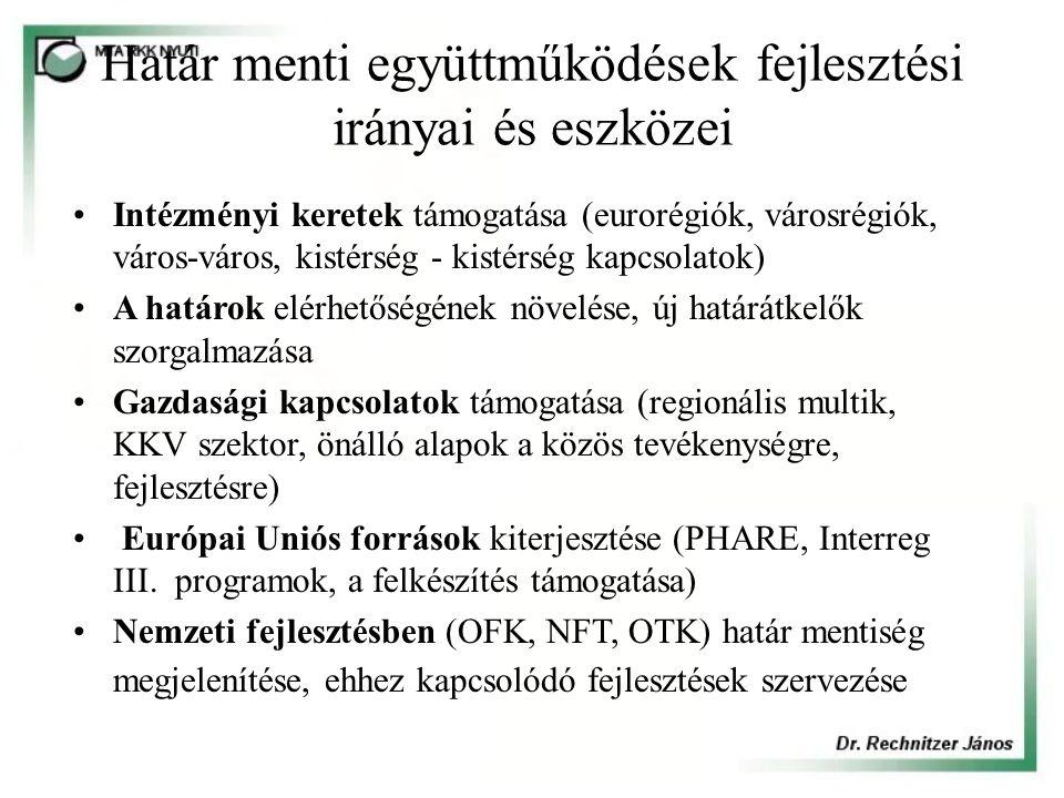 Határ menti együttműködések fejlesztési irányai és eszközei Intézményi keretek támogatása (eurorégiók, városrégiók, város-város, kistérség - kistérség