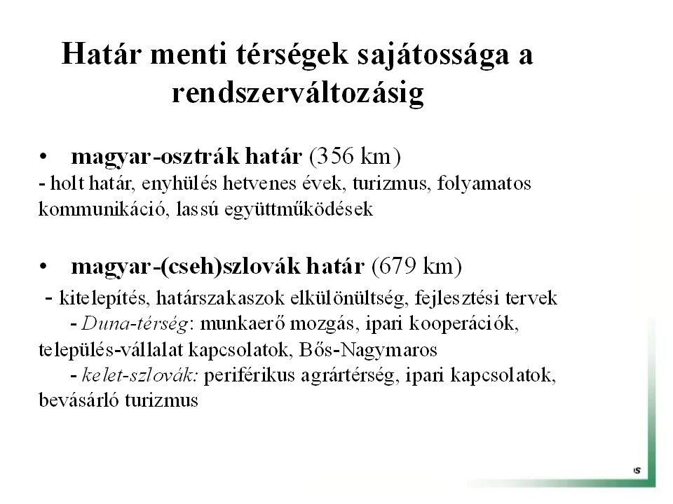 Határ menti együttműködések fejlesztési irányai és eszközei Intézményi keretek támogatása (eurorégiók, városrégiók, város-város, kistérség - kistérség kapcsolatok) A határok elérhetőségének növelése, új határátkelők szorgalmazása Gazdasági kapcsolatok támogatása (regionális multik, KKV szektor, önálló alapok a közös tevékenységre, fejlesztésre) Európai Uniós források kiterjesztése (PHARE, Interreg III.