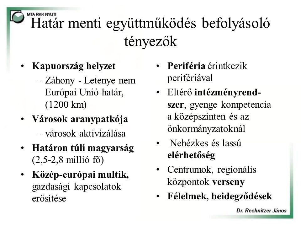 Határ menti együttműködés befolyásoló tényezők Kapuország helyzet –Záhony - Letenye nem Európai Unió határ, (1200 km) Városok aranypatkója –városok aktivizálása Határon túli magyarság (2,5-2,8 millió fő) Közép-európai multik, gazdasági kapcsolatok erősítése Periféria érintkezik perifériával Eltérő intézményrend- szer, gyenge kompetencia a középszinten és az önkormányzatoknál Nehézkes és lassú elérhetőség Centrumok, regionális központok verseny Félelmek, beidegződések