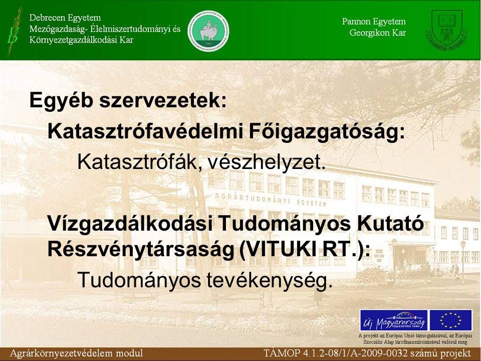 Egyéb szervezetek: Katasztrófavédelmi Főigazgatóság: Katasztrófák, vészhelyzet. Vízgazdálkodási Tudományos Kutató Részvénytársaság (VITUKI RT.): Tudom