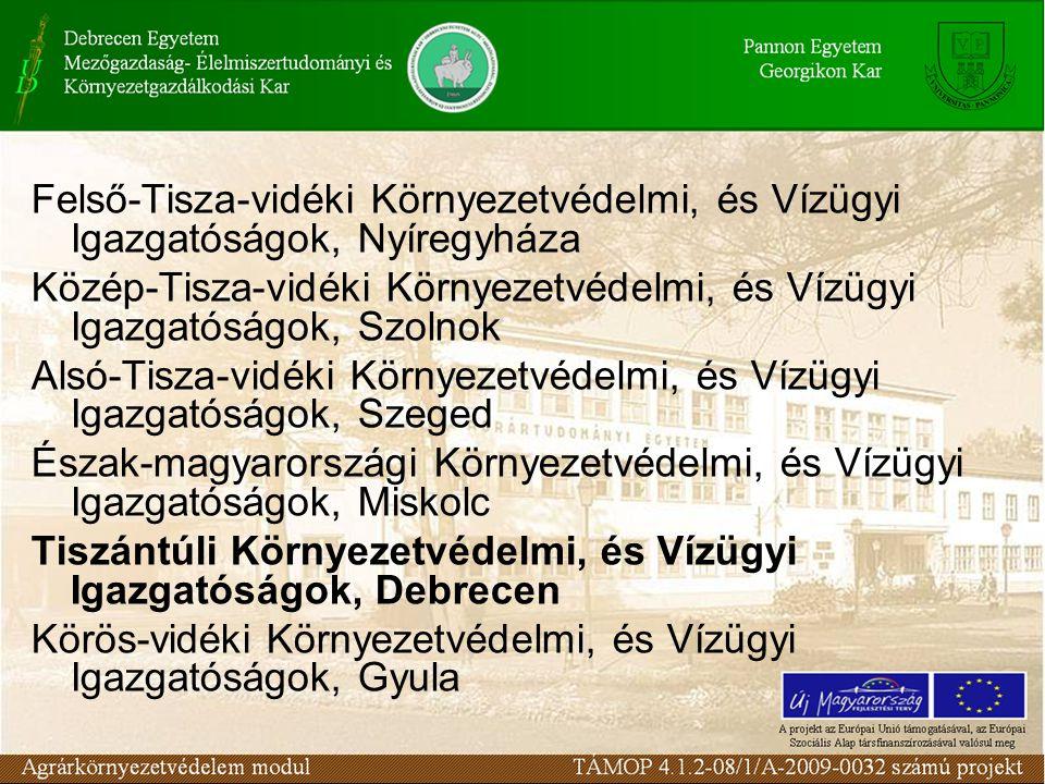 Felső-Tisza-vidéki Környezetvédelmi, és Vízügyi Igazgatóságok, Nyíregyháza Közép-Tisza-vidéki Környezetvédelmi, és Vízügyi Igazgatóságok, Szolnok Alsó