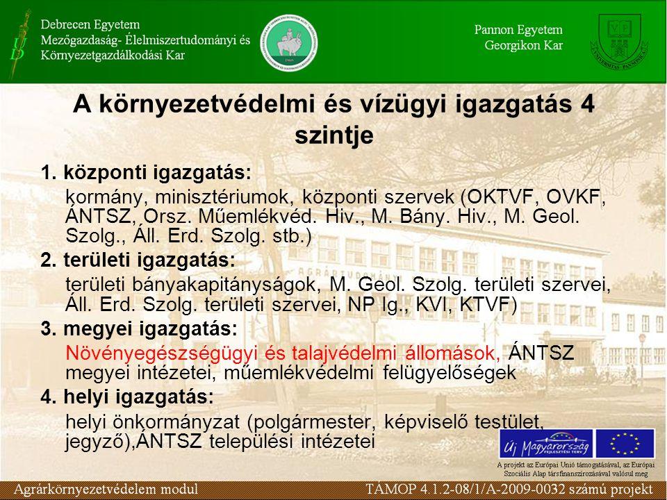 A környezetvédelmi és vízügyi igazgatás 4 szintje 1. központi igazgatás: kormány, minisztériumok, központi szervek (OKTVF, OVKF, ÁNTSZ, Orsz. Műemlékv