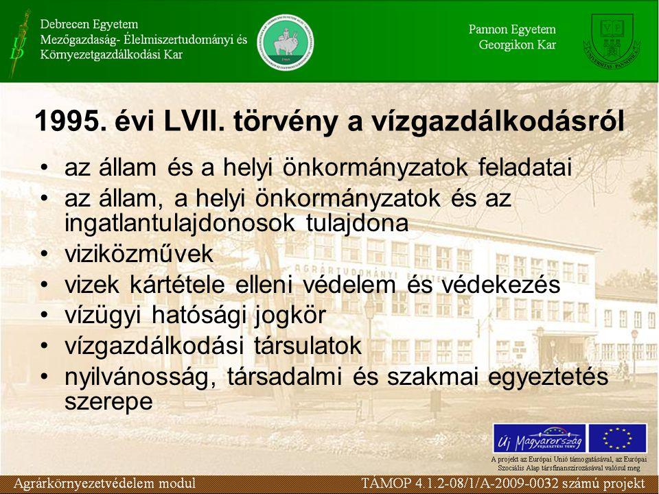 1995. évi LVII. törvény a vízgazdálkodásról az állam és a helyi önkormányzatok feladatai az állam, a helyi önkormányzatok és az ingatlantulajdonosok t