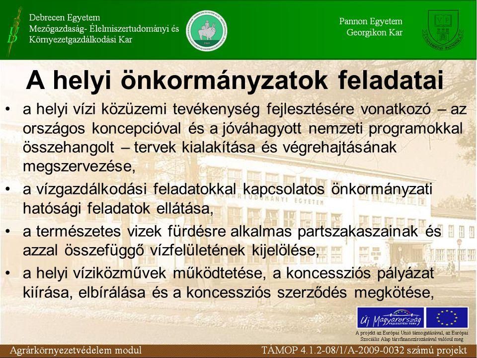 A helyi önkormányzatok feladatai a helyi vízi közüzemi tevékenység fejlesztésére vonatkozó – az országos koncepcióval és a jóváhagyott nemzeti program