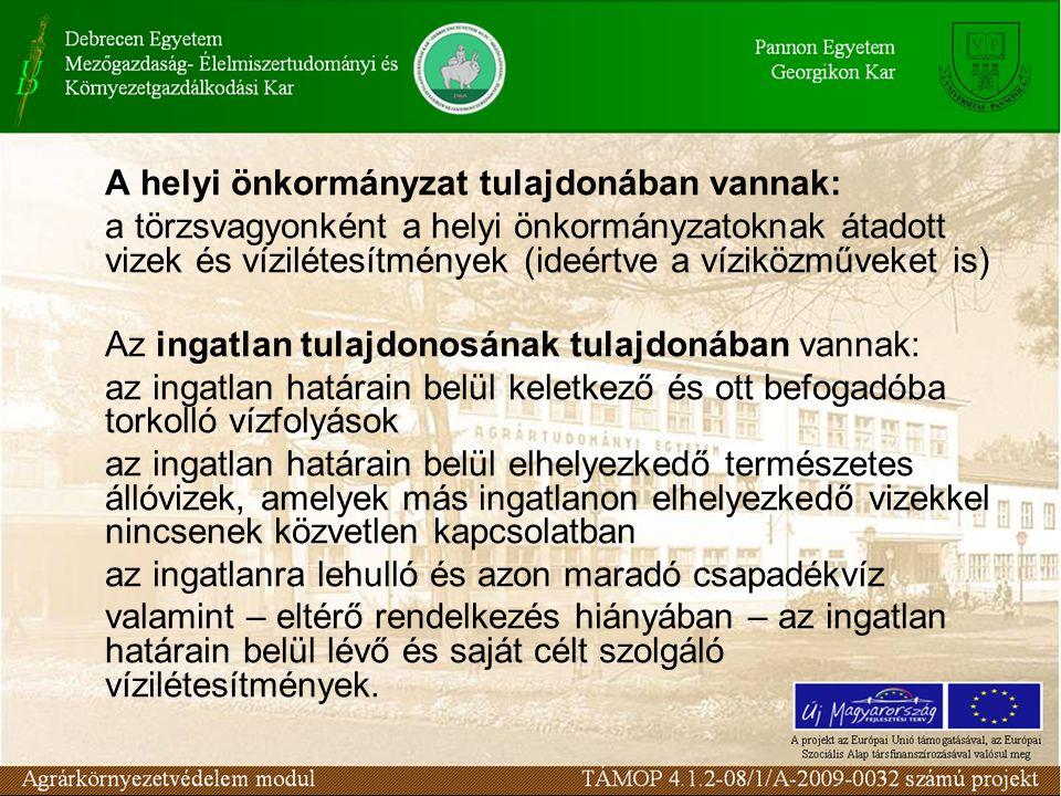 A helyi önkormányzat tulajdonában vannak: a törzsvagyonként a helyi önkormányzatoknak átadott vizek és vízilétesítmények (ideértve a víziközműveket is