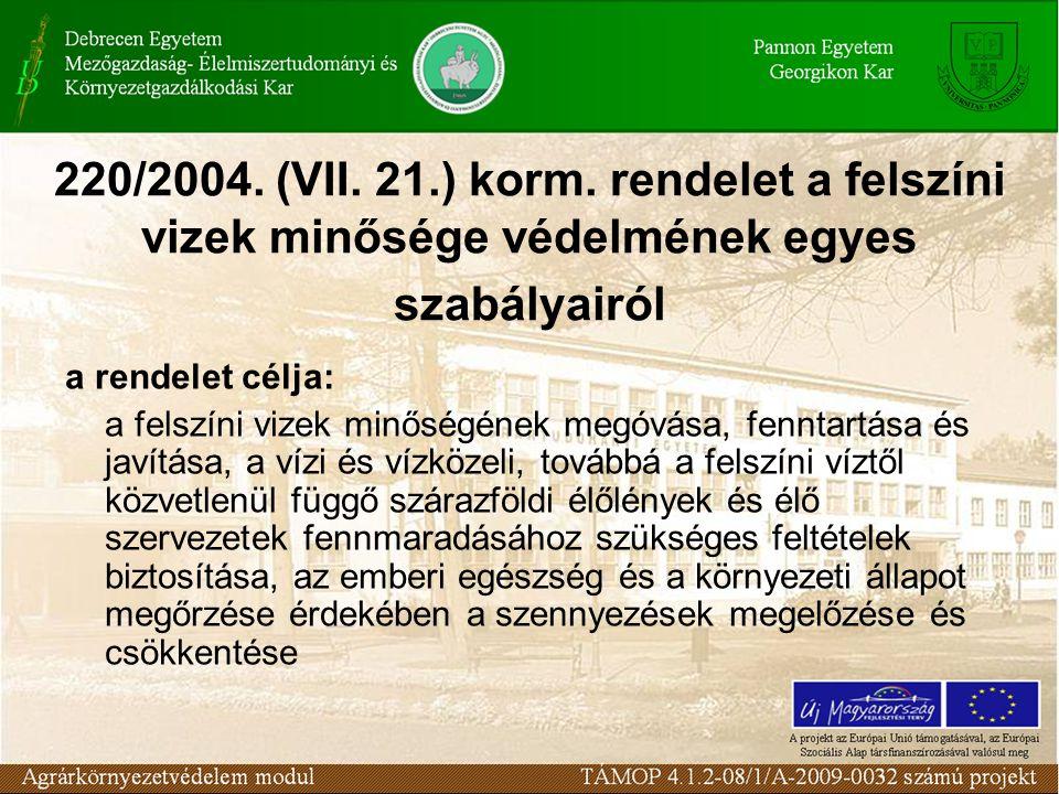 220/2004. (VII. 21.) korm. rendelet a felszíni vizek minősége védelmének egyes szabályairól a rendelet célja: a felszíni vizek minőségének megóvása, f