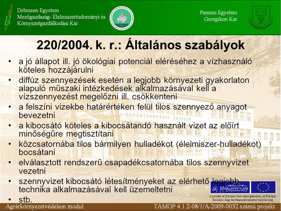 220/2004. k. r.: Általános szabályok a jó állapot ill. jó ökológiai potenciál eléréséhez a vízhasználó köteles hozzájárulni diffúz szennyezések esetén