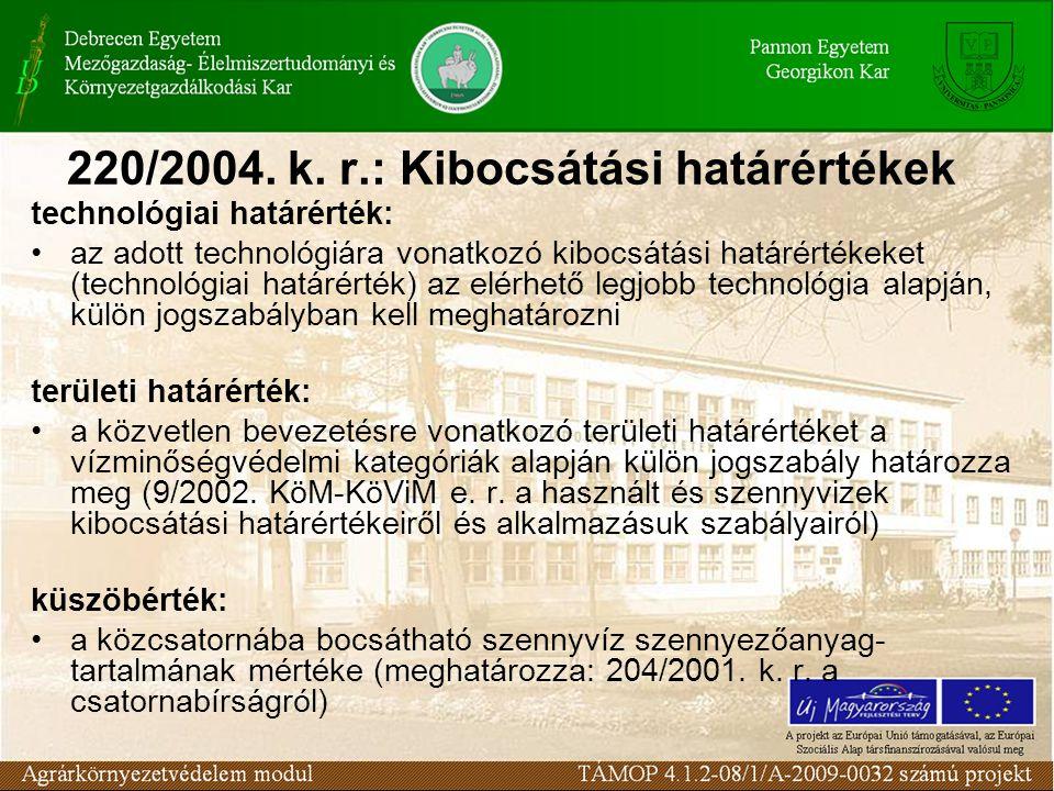 220/2004. k. r.: Kibocsátási határértékek technológiai határérték: az adott technológiára vonatkozó kibocsátási határértékeket (technológiai határérté