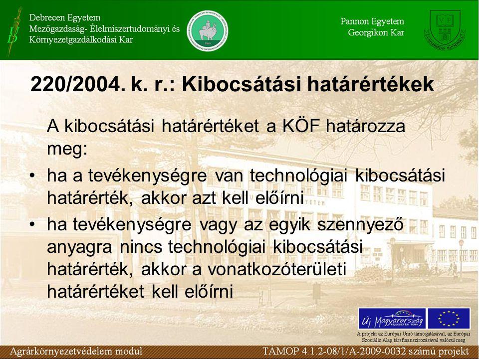 220/2004. k. r.: Kibocsátási határértékek A kibocsátási határértéket a KÖF határozza meg: ha a tevékenységre van technológiai kibocsátási határérték,