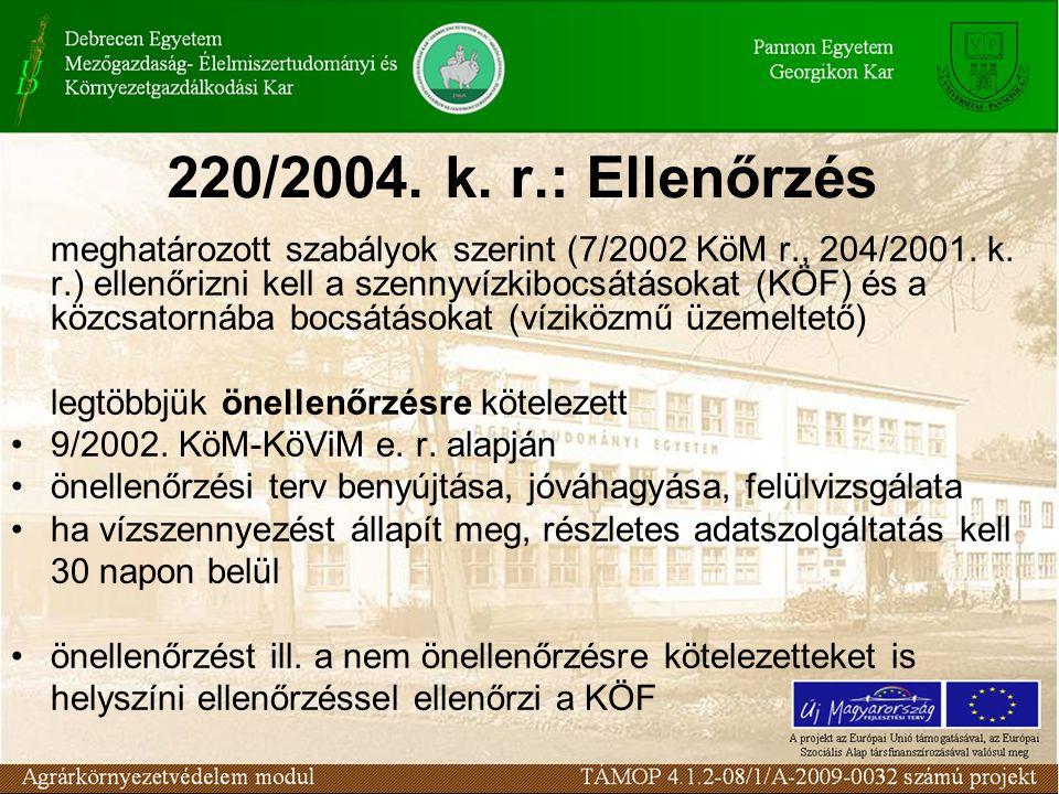 220/2004. k. r.: Ellenőrzés meghatározott szabályok szerint (7/2002 KöM r., 204/2001. k. r.) ellenőrizni kell a szennyvízkibocsátásokat (KÖF) és a köz