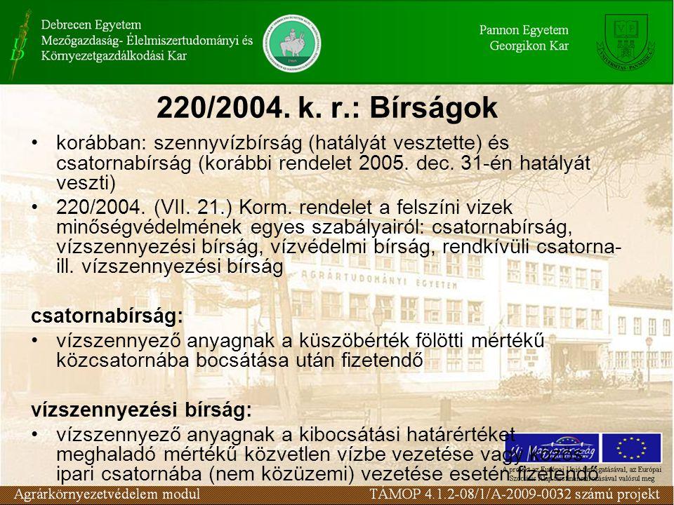 220/2004. k. r.: Bírságok korábban: szennyvízbírság (hatályát vesztette) és csatornabírság (korábbi rendelet 2005. dec. 31-én hatályát veszti) 220/200
