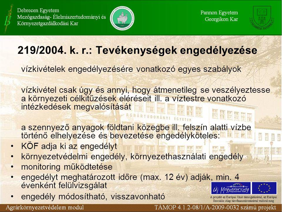 219/2004. k. r.: Tevékenységek engedélyezése vízkivételek engedélyezésére vonatkozó egyes szabályok vízkivétel csak úgy és annyi, hogy átmenetileg se