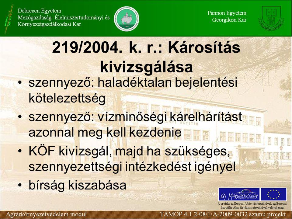 219/2004. k. r.: Károsítás kivizsgálása szennyező: haladéktalan bejelentési kötelezettség szennyező: vízminőségi kárelhárítást azonnal meg kell kezden