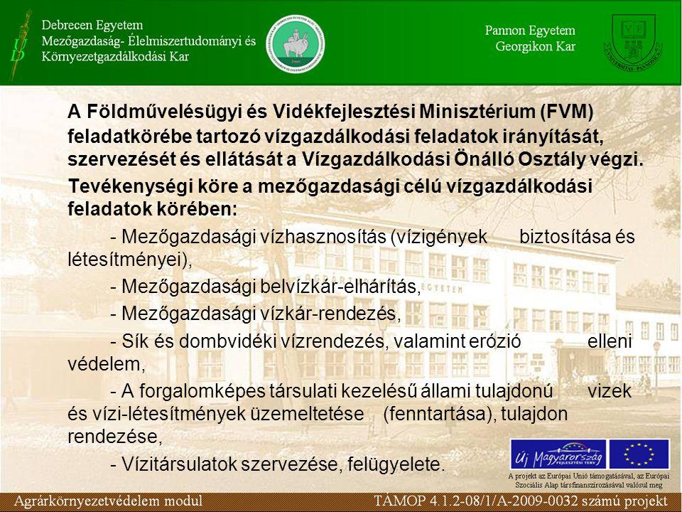 A Földművelésügyi és Vidékfejlesztési Minisztérium (FVM) feladatkörébe tartozó vízgazdálkodási feladatok irányítását, szervezését és ellátását a Vízga