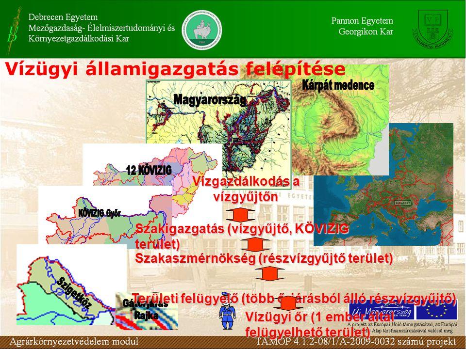 Vízügyi államigazgatás felépítése Vízügyi őr (1 ember által felügyelhető terület) Területi felügyelő (több őrjárásból álló részvízgyűjtő) Szakaszmérnö