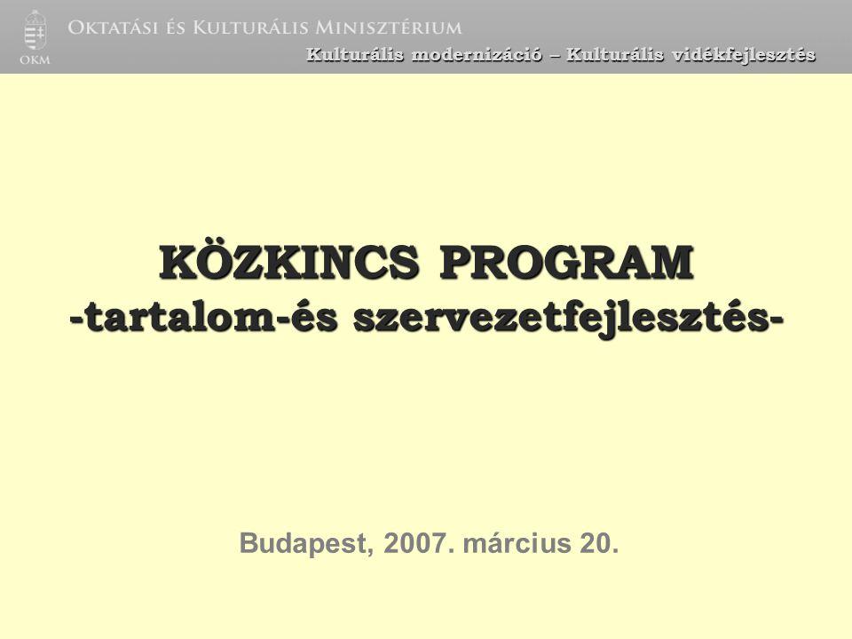 KÖZKINCS PROGRAM -tartalom-és szervezetfejlesztés- Budapest, 2007. március 20. Kulturális modernizáció – Kulturális vidékfejlesztés