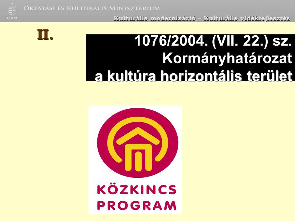 a kultúra horizontális terület 1076/2004. (VII. 22.) sz.
