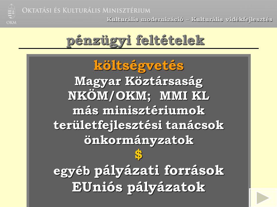 Kulturális modernizáció – Kulturális vidékfejlesztés költségvetés Magyar Köztársaság NKÖM/OKM; MMI KL más minisztériumok területfejlesztési tanácsok ö