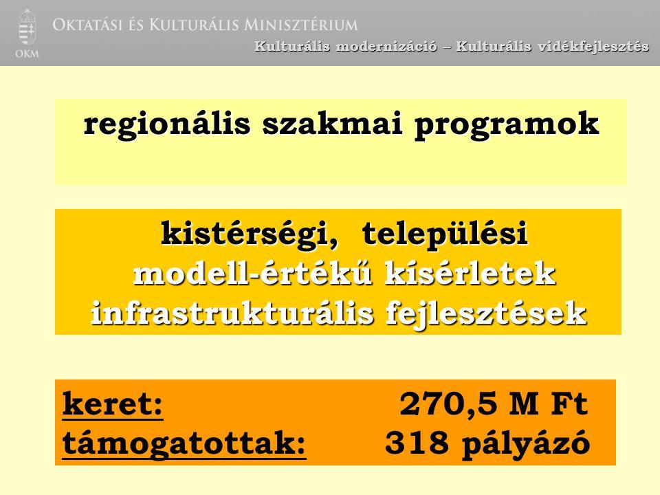 Kulturális modernizáció – Kulturális vidékfejlesztés regionális szakmai programok kistérségi, települési modell-értékű kísérletek modell-értékű kísérl