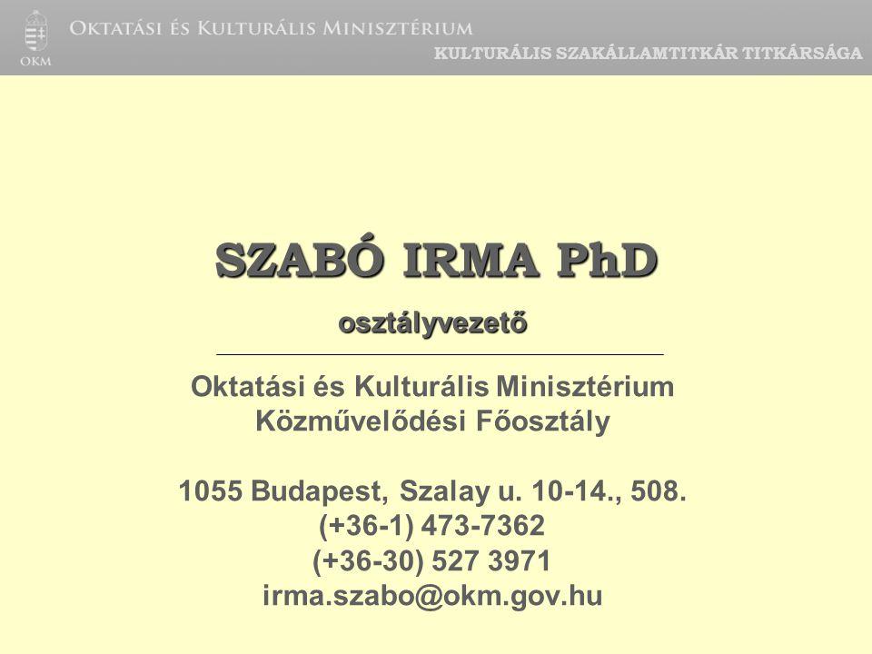 KULTURÁLIS SZAKÁLLAMTITKÁR TITKÁRSÁGA SZABÓ IRMA PhD osztályvezető Oktatási és Kulturális Minisztérium Közművelődési Főosztály 1055 Budapest, Szalay u