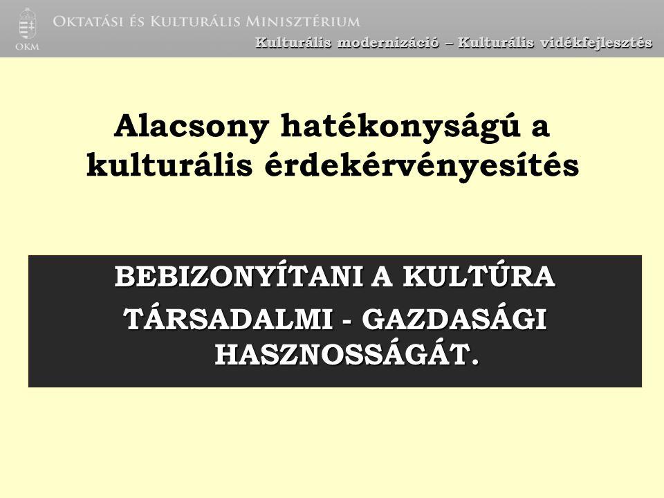 Kulturális modernizáció – Kulturális vidékfejlesztés költségvetés Magyar Köztársaság NKÖM/OKM; MMI KL más minisztériumok területfejlesztési tanácsok önkormányzatok$ egyéb pályázati források EUniós pályázatok pénzügyi feltételek