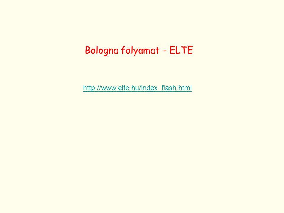 http://www.elte.hu/index_flash.html Bologna folyamat - ELTE