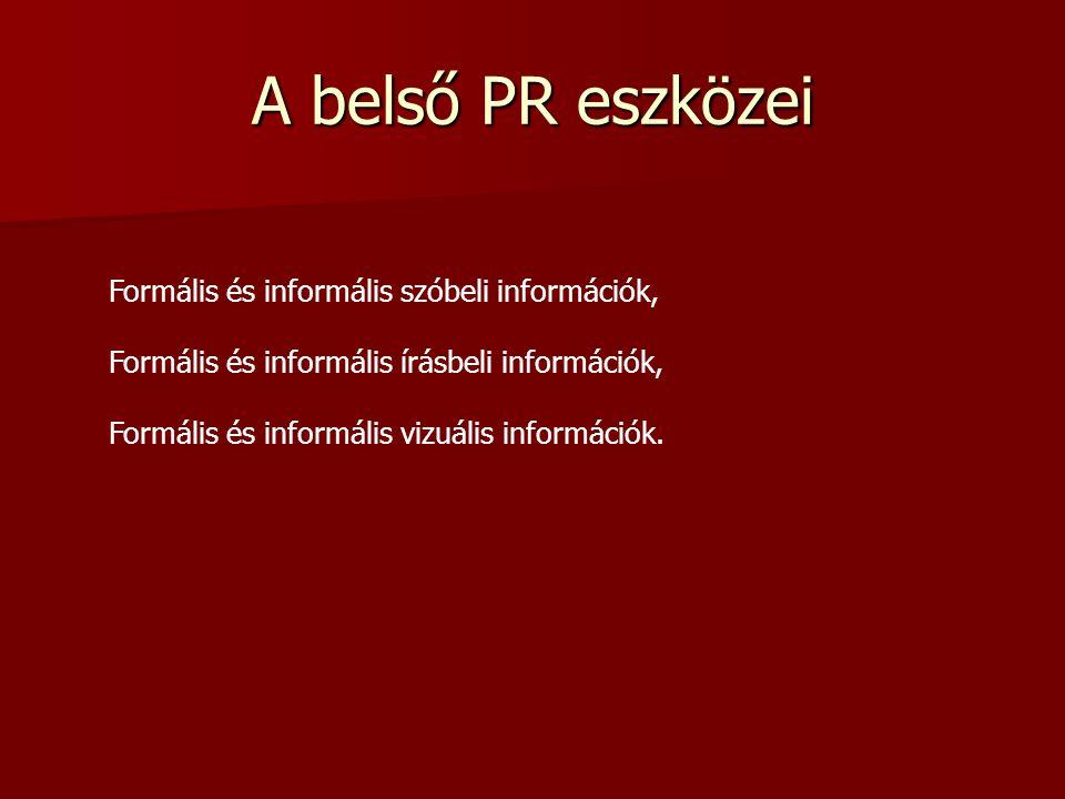 Belső PR A belső PR alapvető jelentőségű, mert fokozza a munka hatékonyságát, a vállalatról kialakult kedvező vagy kedvezőtlen kép kialakításában gyak