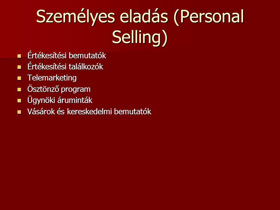 Eladásösztönzés (Sales Promotion) Ösztönző eszközök (versenyek, utazások, bonus, díjak, hirdetési támogatás, ingyenes minták, költség átvállalás) Öszt