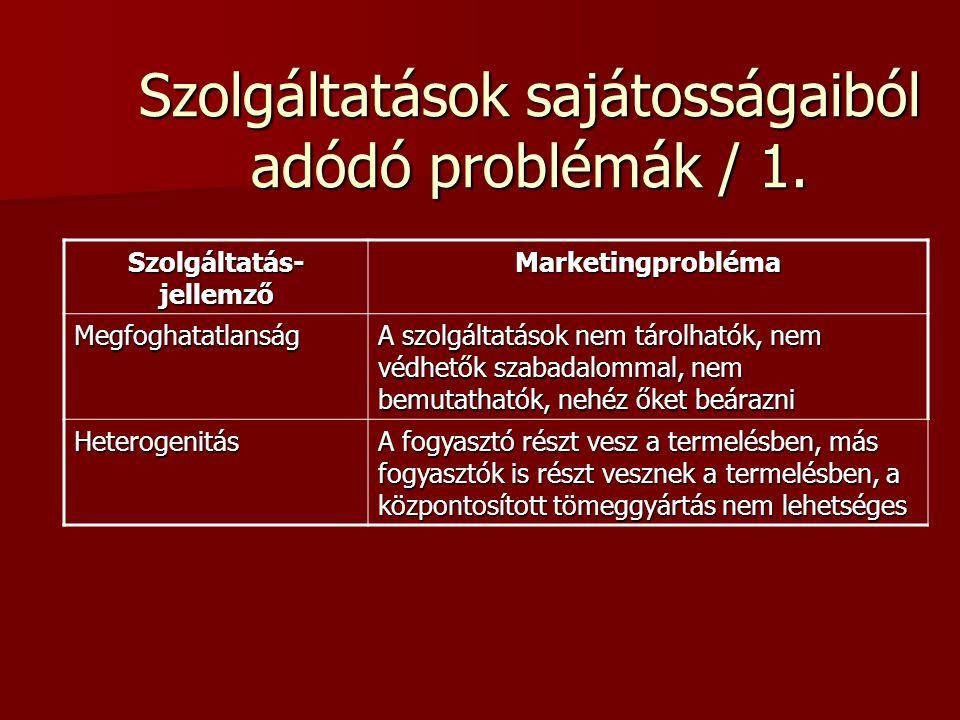 Szolgáltatásmarketing / 2. 3. Heterogenitás - A szubjektum szerepe, minden fogyasztó más és másképpen ítélheti meg ugyanazt a szolgáltatást 4. Raktáro
