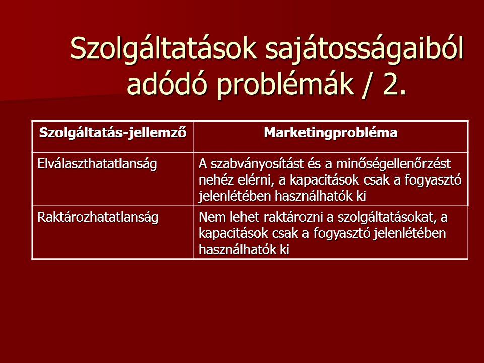 Szolgáltatások sajátosságaiból adódó problémák / 1. Szolgáltatás- jellemző Marketingprobléma Megfoghatatlanság A szolgáltatások nem tárolhatók, nem vé