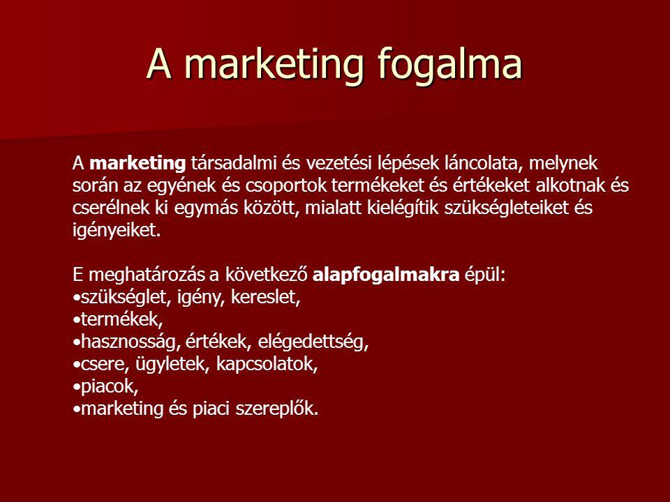 A marketing fogalma A marketing társadalmi és vezetési lépések láncolata, melynek során az egyének és csoportok termékeket és értékeket alkotnak és cserélnek ki egymás között, mialatt kielégítik szükségleteiket és igényeiket.