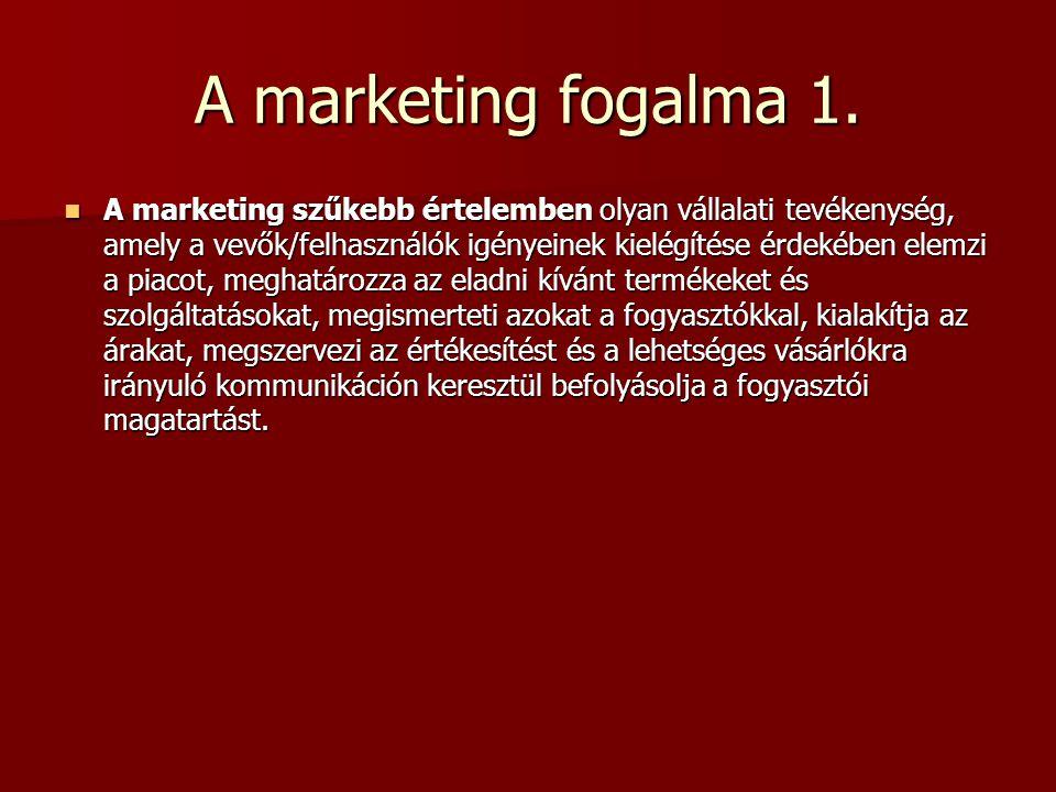 Marketing költségvetés Meghatározza a kitűzött forgalom és bevétel eléréshez szükséges anyagi források nagyságát.