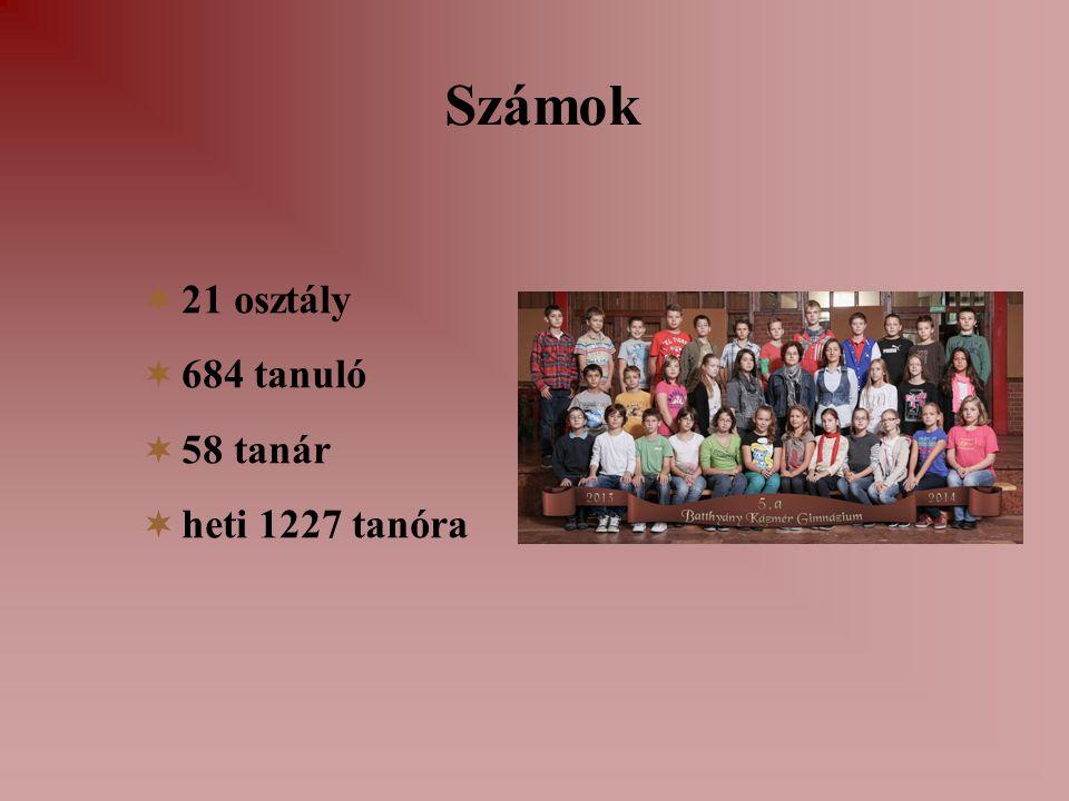 Számok  21 osztály  684 tanuló  58 tanár  heti 1227 tanóra