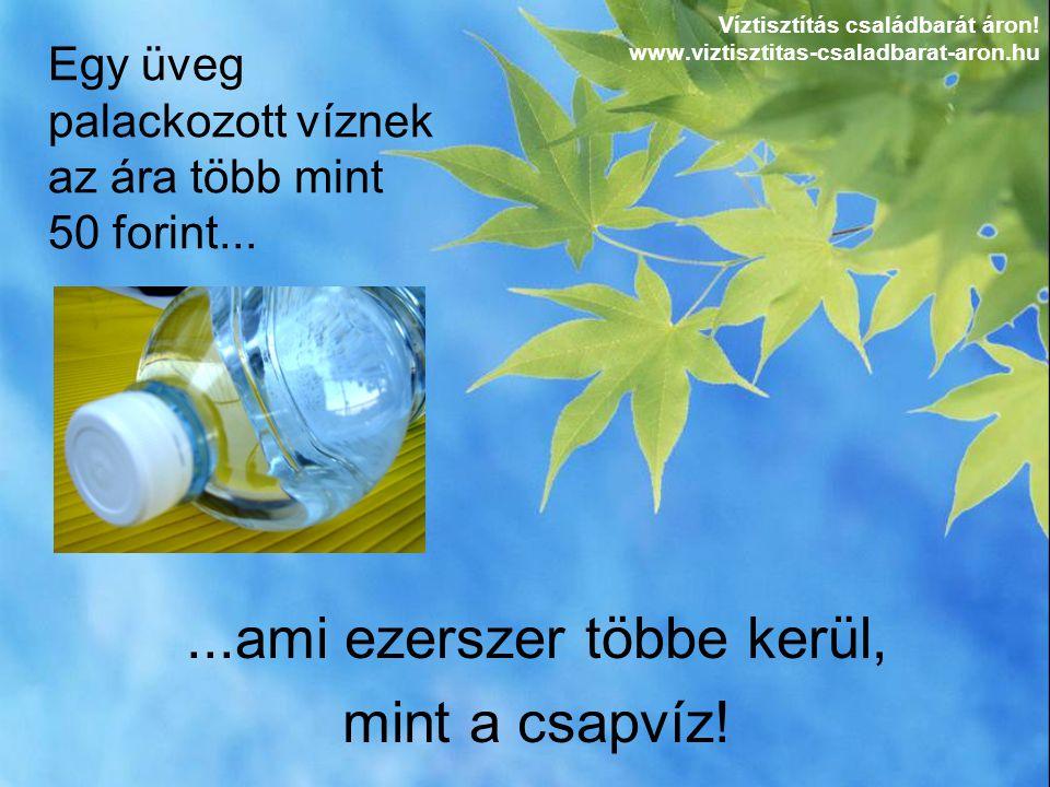 ...ami ezerszer többe kerül, mint a csapvíz! Egy üveg palackozott víznek az ára több mint 50 forint... Víztisztítás családbarát áron! www.viztisztitas