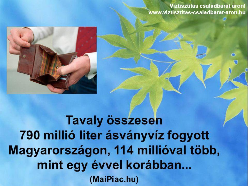 Tavaly összesen 790 millió liter ásványvíz fogyott Magyarországon, 114 millióval több, mint egy évvel korábban... (MaiPiac.hu) Víztisztítás családbar