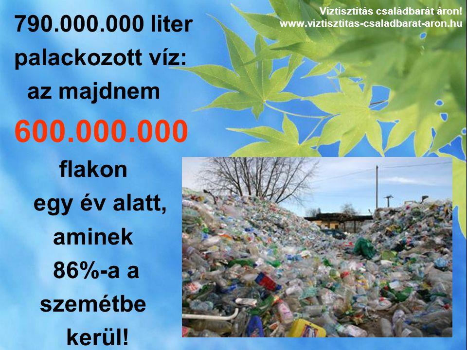 790.000.000 liter palackozott víz: az majdnem 600.000.000 flakon egy év alatt, aminek 86%-a a szemétbe kerül! Víztisztítás családbarát áron! www.vizti