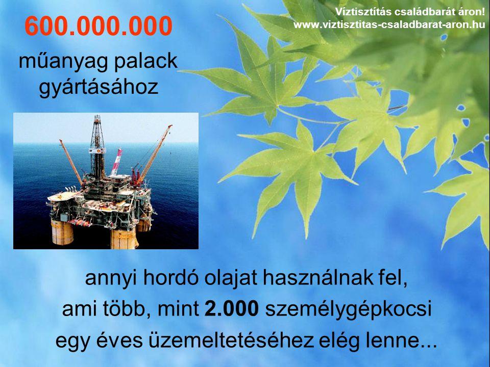 annyi hordó olajat használnak fel, ami több, mint 2.000 személygépkocsi egy éves üzemeltetéséhez elég lenne... 600.000.000 műanyag palack gyártásához