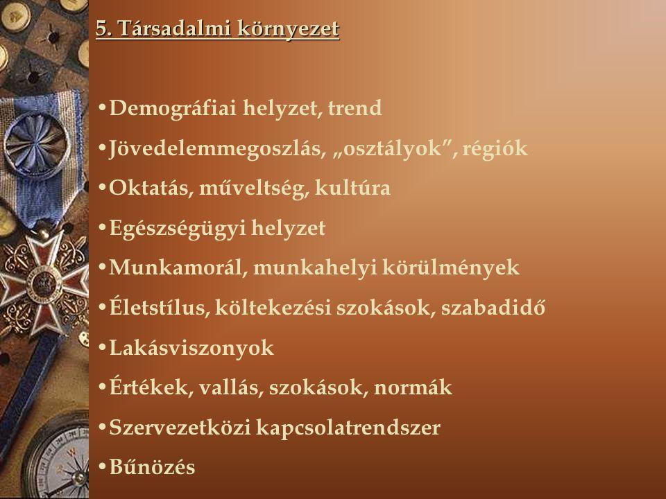 """5. Társadalmi környezet Demográfiai helyzet, trend Jövedelemmegoszlás, """"osztályok"""", régiók Oktatás, műveltség, kultúra Egészségügyi helyzet Munkamorál"""