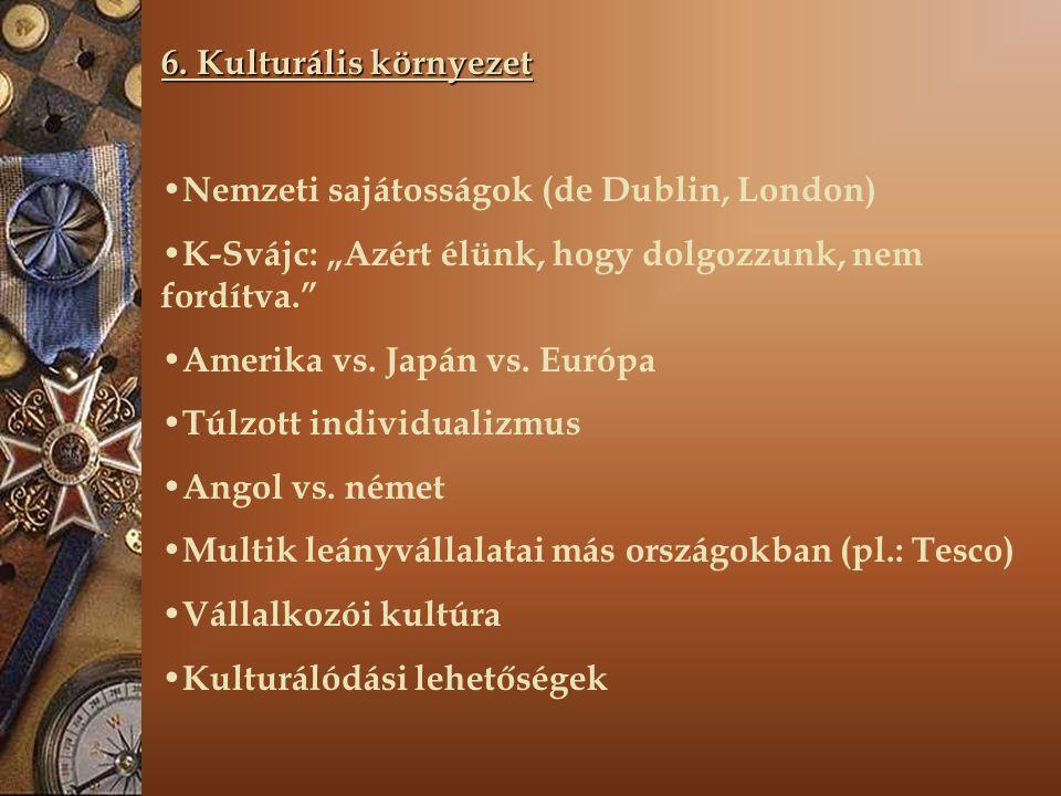 """6. Kulturális környezet Nemzeti sajátosságok (de Dublin, London) K-Svájc: """"Azért élünk, hogy dolgozzunk, nem fordítva."""" Amerika vs. Japán vs. Európa T"""