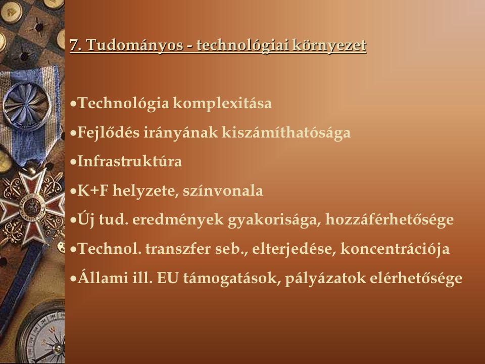 7. Tudományos - technológiai környezet  Technológia komplexitása  Fejlődés irányának kiszámíthatósága  Infrastruktúra  K+F helyzete, színvonala 