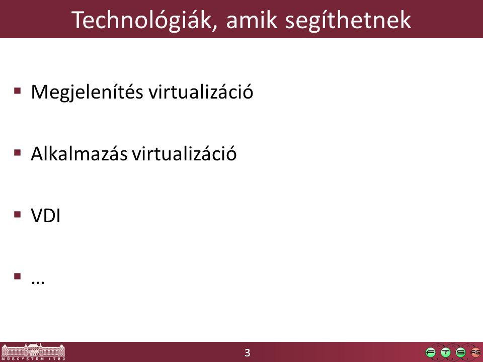 3 Technológiák, amik segíthetnek  Megjelenítés virtualizáció  Alkalmazás virtualizáció  VDI  …