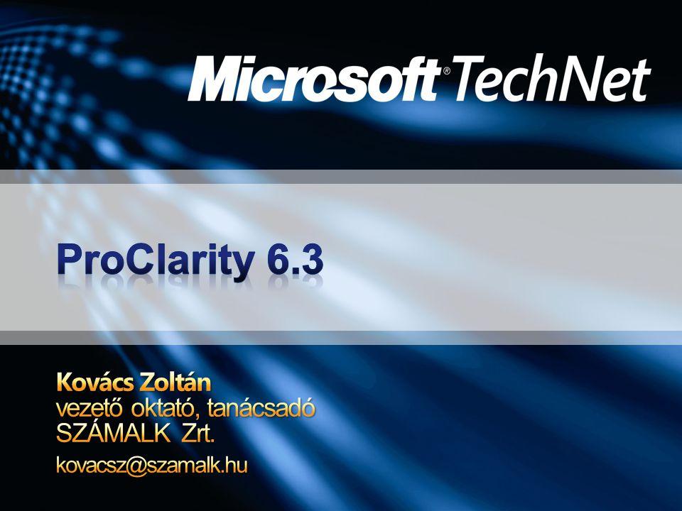 ProClarity 6.3 áttekintés ProClarity Professional ProClarity Analytics Server Integráció Mire használjuk a ProClarityt?Mire használjuk a ProClarityt?Demó