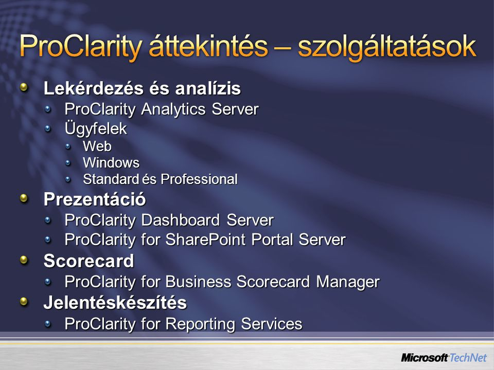 Lekérdezés és analízis ProClarity Analytics Server ÜgyfelekWebWindows Standard és Professional Prezentáció ProClarity Dashboard Server ProClarity for SharePoint Portal Server Scorecard ProClarity for Business Scorecard Manager Jelentéskészítés ProClarity for Reporting Services